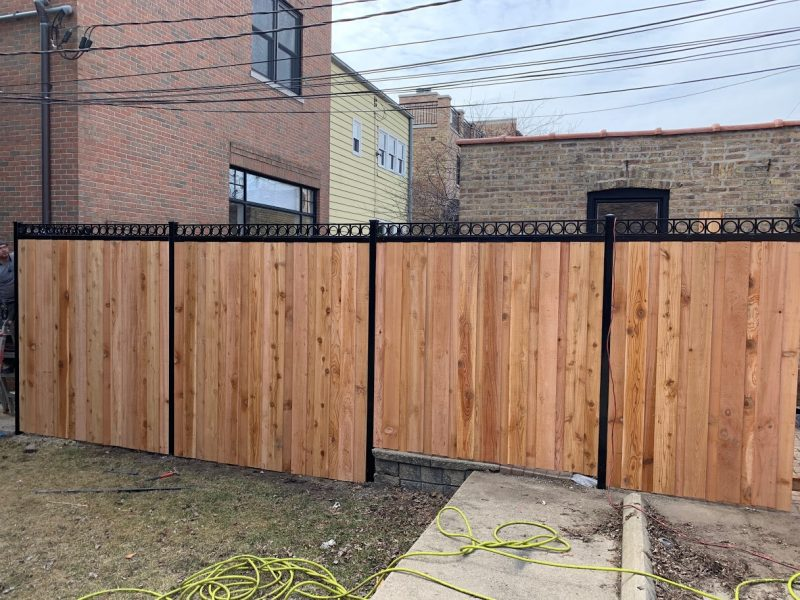 Steel Post Wood Fence Options-residential wood fence