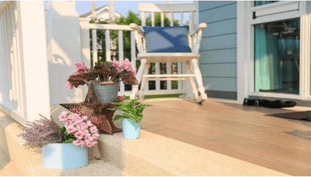 wooden entrance porch railings materials