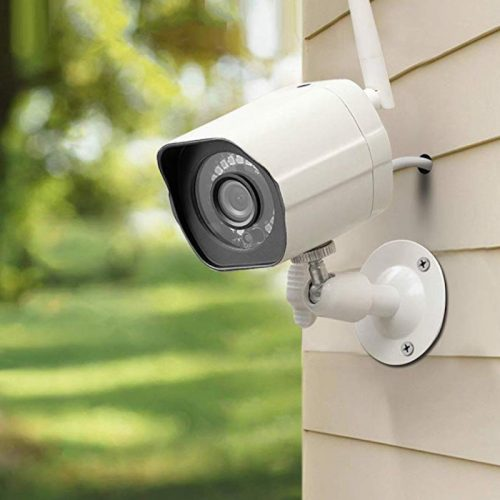 home security camera positioned outside
