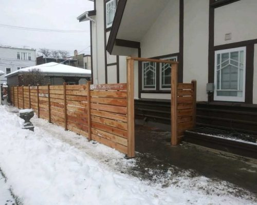 horizontal style fence-wood privacy fence